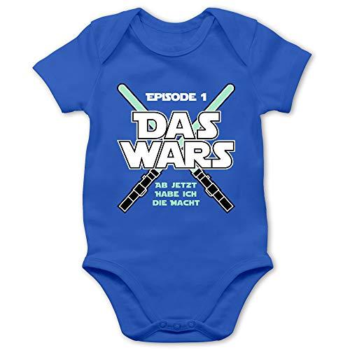 Shirtracer Zur Geburt - Das Wars Jetzt Habe ich die Macht Junge - 3/6 Monate - Royalblau - Babybody Macht - BZ10 - Baby Body Kurzarm für Jungen und Mädchen