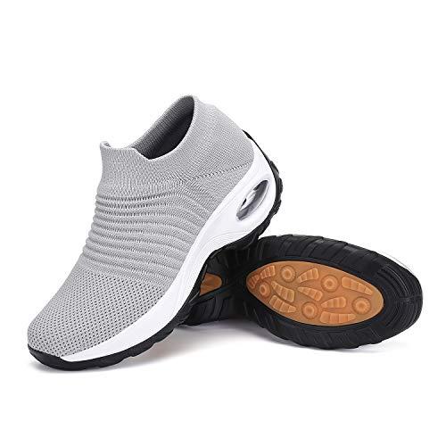 Mishansha Air Laufschuhe Damen Slip on Bequeme Walkingschuhe Frauen Schuhe rutschfest Joggingschuhe Höhe Erhöhen Mesh Leichte Sneakers Hellgrau A, Gr.40 EU
