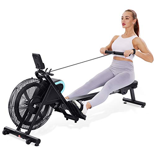 MaxKare Rowing Machine Foldable Rower Air Resistance Adjustable with LCD Monitor & Pad Holder for Losing Weight and Increasing Strength Training Exercise at Home