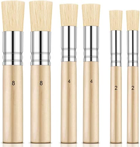 Outus 6 Pieces Wooden Stencil Brushes Pure Natural Stencil Brushes Painting Bristle Brushes product image
