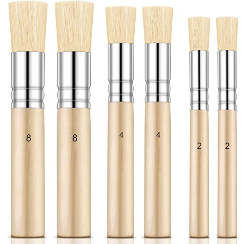 Outus 6 Pieces Wooden Stencil Brushes Pure Natural Stencil Brushes Painting Bristle Brushes for Acrylic Oil Watercolor Art Painting Stencil Project DIY Crafts, 3 Sizes