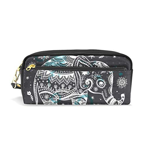 Baofu Elephant Leather Pencil Case Pen Zipper Makeup Pouch Cosmetic Bag Vintage Cute Waterproof Handmade Soft Student Stationery Holder for Kids Women