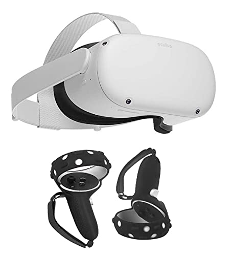 Oculus Quest 2 All-in-One Virtual Reality 64GB Gaming Headset Bundle, Mazepoly Silicone Controller Grip Cover with 2 Palm Straps and 2 Thumb Grip Caps Black Set