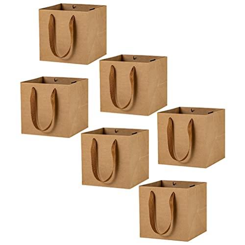 Toyvian Bolsas de Papel Marrón con Asas Bolsas de Papel Kraft 6 Pzas para Embalaje Boutique Mercancía de Supermercado Navidad Fiesta de Boda