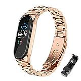 BDIG Bracelet de rechange étanche en acier inoxydable pour Xiaomi Mi Band 5, bracelet Mi Band 4,...