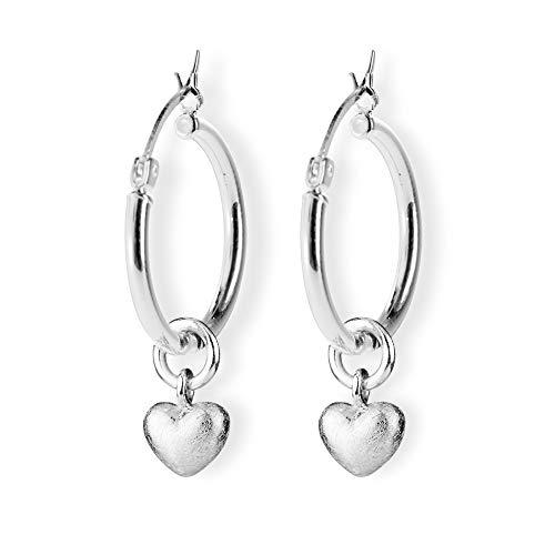 Heartbreaker Herz Einhänger für Creolen in Echtsilber   Kollektion Style & Go   Herzeinhänger aus 925 Sterlingsilber   Romantische Einhänger für Damen