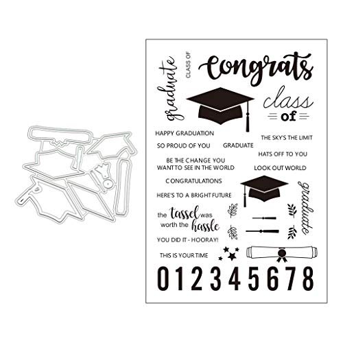 Haayward Graduation Cap Cutting Dies Seal Stamp, DIY Scrapbooking Embossing Card Crafts Decor Crafts
