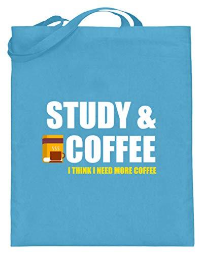 Schuhboutique Doris Finke UG (haftungsbeschränkt) studieren Kaffee - ich brauche mehr Kaff - Jutebeutel (mit langen Henkeln) -38cm-42cm-Hellblau