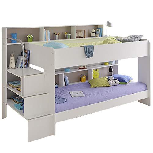 Jugendmöbel24.de Hochbett Akazie inklusive 2 Lattenrostplatten + Regale + Leiterpodest Spielbett Kinderbett Kinderzimmer Doppel Stockbett Doppelbett Etagenbett