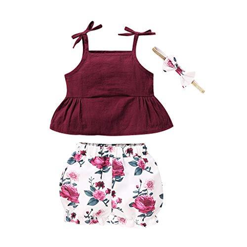kioout Ropa para bebé niña, Verano Niño Bebé Niñas Liguero Chaleco sólido Tops + Pantalones Cortos con Estampado Floral Conjuntos de Ropa para niñas