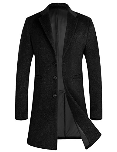Men's Stylish Wool Trench Coat Long Business Wool Jacket Overcoat 1701 Black M