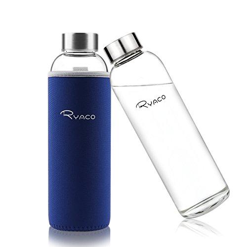 Ryaco 550ml/18oz Bouteille en Verre Borosilicate avec Anti-échaudage Manche en Néoprène et Fond Épaissi Respectueux de l'environnement & sans BPA, PVC (Saphir)