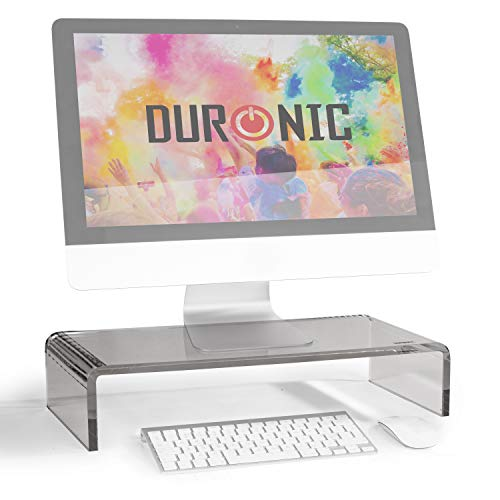 Duronic DM054 Elevador para Pantalla, Ordenador Portátil, Televisor - 50 x 20 cm- Metacrilato Negro, Soporta hasta 30 kg