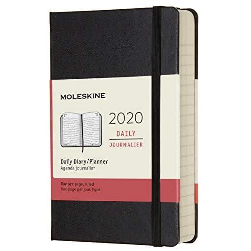 (modello precedente) - Moleskine 12 Mesi, anno 2020 Agenda Giornaliera, Copertina Rigida e Chiusura ad Elastico, Colore Nero, Dimensione Pocket 9 x 14 cm