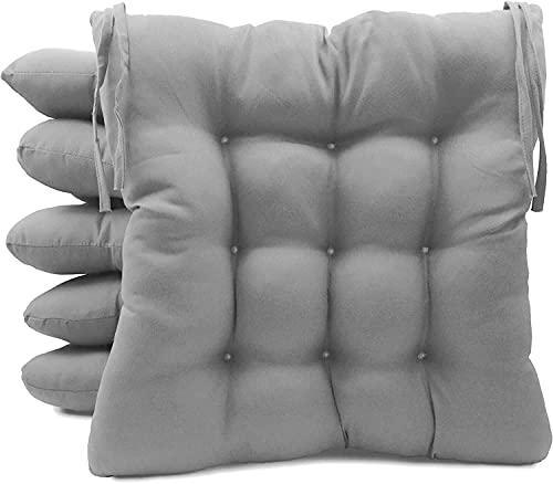 TIENDA EURASIA® Pack 6 Cojines para Sillas de Terraza - Funda de 100% Loneta Lavable y Relleno de Fibra Hueca Siliconada Acolchada - 40 x 40 x 5 cm (Gris Claro)