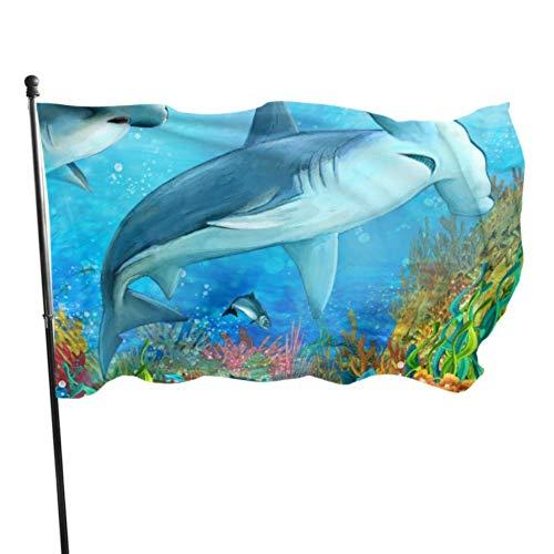 Florasun - Drapeau de requin marine - Décorations de table - Décorations de fête - Couleurs vives - En polyester et laiton - Qualité supérieure