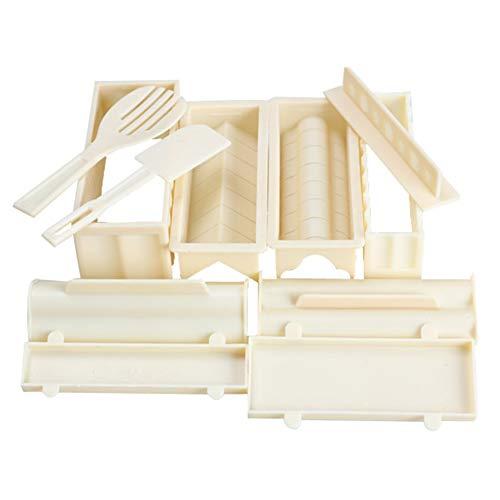 Kit De Fabricación De Sushi De 10 Piezas/Herramienta De Plástico Para Hacer Rollos De Sushi Con 8 Formas De Moldes,1 Tenedor De Arroz Y 1 Espátula Para Principiantes White