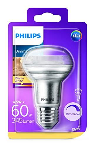 Philips LEDclassic Lampe, ersetzt 60W, E27, R63, Warmweiß (2700 Kelvin), 345 Lumen, Reflektor, dimmbar klar, Silber
