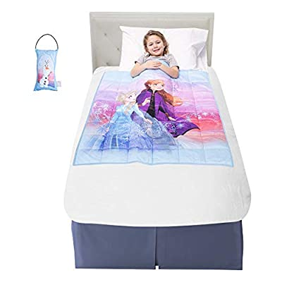"Franco Bedding Super Soft Plush Kids Weighted Blanket with Bonus Door Knob Pillow, 36"" x 48"" 4.5lbs, Disney Frozen 2"