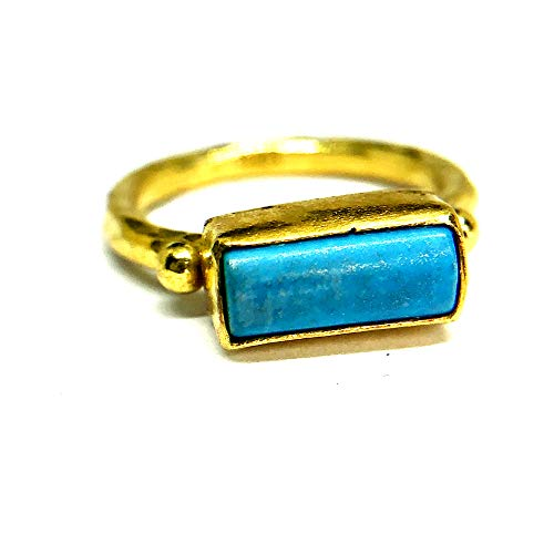 izmirjewelry Handmade Side Way Turquoise Ring 24K Gold Over 925K Sterling Silver