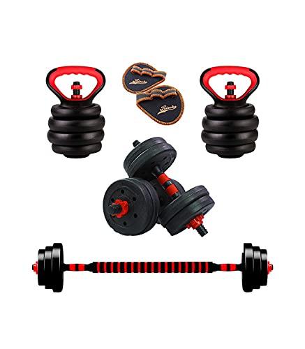 Riscko - Juego De Mancuernas 2 en 1 con Barra Ajustable | Peso Total 10 Kg | Entrenamiento De Fuerza | Equipo de Fitness para Casa y Gimnasio con Barra de Conexión