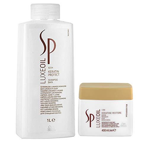 """Wella - Set di due prodotti """"SP Luxe Oil"""", composto da: shampoo alla cheratina da 1.000 ml Protect, e maschera alla cheratina Restore da 400 ml"""