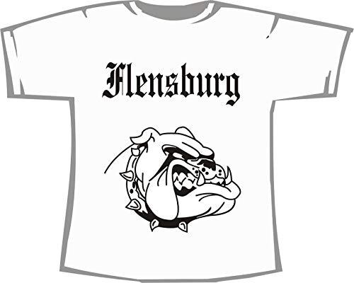 Flensburg (mit Bulldogge); Städte Kinder T-Shirt weiß, Gr. 7-8