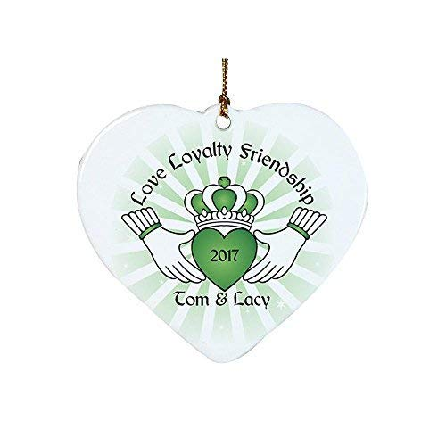 Anyuwerw Christmas Ornament-Personalized Ceramic Claddagh Heart Ornament