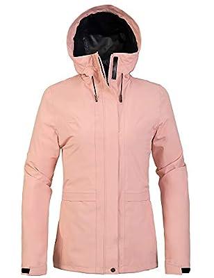 Wantdo Women's Raincoat Climbing Windbreaker Packable Trench Coat Pink Medium from