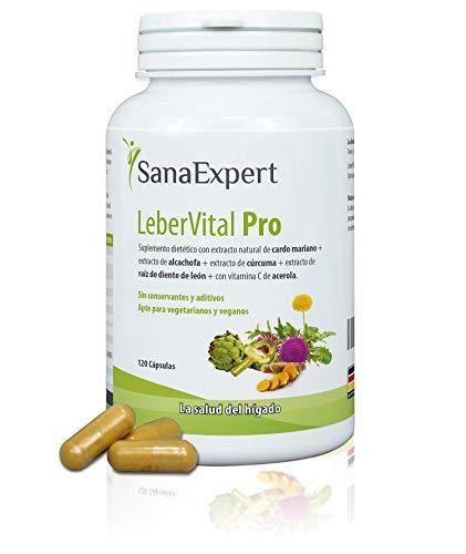 SanaExpert LeberVital Pro,pour la digestion, pour le foie et les reins, aux extraits de chardon-Marie, artichaut, curcuma, racine de pissenlit, 120 gélules.
