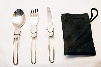 OUTDOOR SAXX® - Lot de 3 couverts de camping, couverts de voyage, pliable, couteau, fourche, cuillère, sac de transport, pour randonnée, camping, festival, compact, léger, pliable