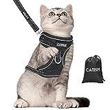 Katzengeschirr CATISM Katzenleine mit Leine Geschirr mit Reflektierenden Streifen Katzen Ausbruchsicher Katzengarnitur Ausbruchsicher Verstellbar Katzenweste Kaninchengarnitur Katze und Hunde Schwarz