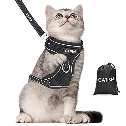 Pettorina per Gatti con Guinzaglio con Cinturino Riflettente Imbracatura per Gatti Regolabile Pettorina per Gatti e cani di Piccola Taglia A Prova di Fuga Imbracatura Gilet Morbida Collare Antifuga