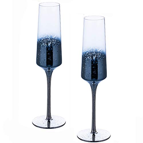Set of 2 Starry Sky Classy Cocktail Wine Champagne Flutes -Crystal Martini Champagne Glasses Flutes, Goblet, Standing Cup - Gift for Wedding, Anniversary, Christmas (Champagne Set,Blue)