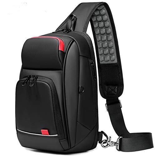 Adlereyire Sling Bag Fashion Chest Shoulder Backpack Crossbody Bag Ideal for Men Women Lightweight Outdoor Sports Travel Hiking (Color : Black, Size : 201430cm)