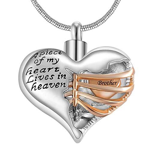 KBFDWEC A Piece of My Heart Lives in Heaven Memorial Urn Corazón Cremación Collar, Hombres/Mujeres Colgante Joyería de Recuerdo