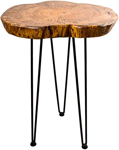 Hurricom Natural Wooden Edge End Table, Rustic Old Round Wood Side Table Nightstand Accent Table with Hairpin Legs, 20 inch Tall