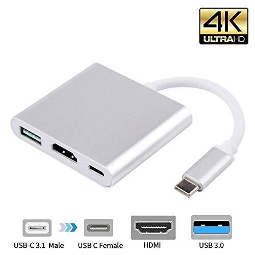 HONGFAN Convertidor Tipo C a Hdmi, Adaptador Convertidor Tipo C Hdmi Mac 3.1 Adaptador Tipo C a HDMI HDMI/USB 3.0 / Adaptador Tipo C Gris Plata