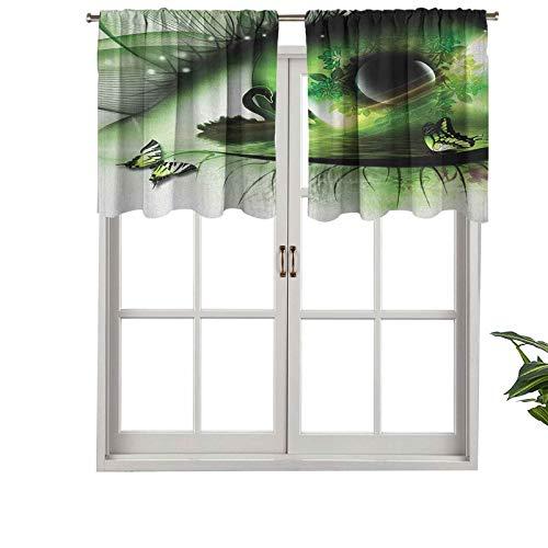 Hiiiman Cenefa extra corta con aislamiento térmico, cortinas abstractas naturales con un cisne flotando en los ojos, juego de 2, paneles decorativos para el hogar de 106,7 x 60,9 cm