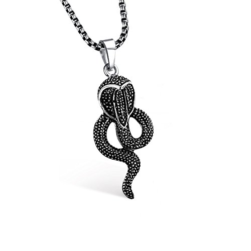 Emma Gioielli - Collana Catena Donna Uomo Unisex 60 cm Ciondolo Serpente Re King Kobra Cobra Reale in Acciaio di ALTA QUALITA' Lucido e Brunito Nero - Confezione Regalo