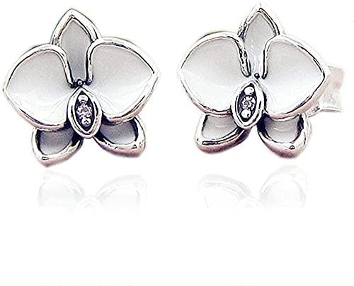 VVHN Pulseras de los Hombres Pendientes de botón de orquídeas Blancas de Verano Auténtica Plata de Ley 925 para joyería de Moda para Mujer