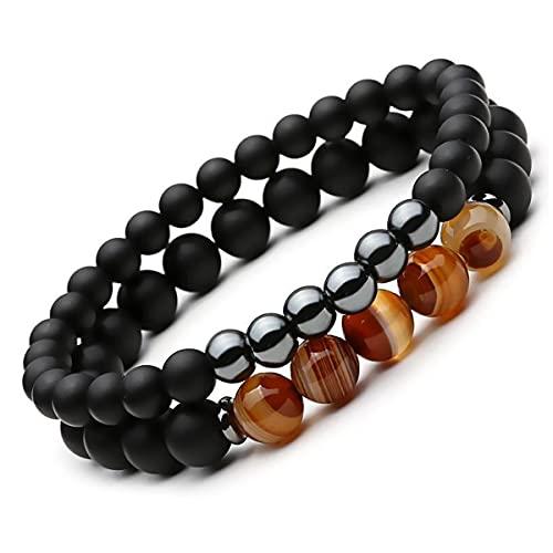 LPDM Balancing Hematite Agate Protection Bracelets, Black Agate Stone Hematite Magnetic Bracelet, Body-Soul-N-Spirit Yin-Yang Energy Bracelets for Men Women (A)