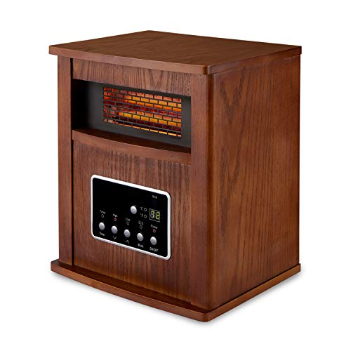 Limina Portable Room Home Office Electric 1500 Watt Infrared Quartz Cabinet Space Heater, Dark Walnut Heater Infrared Space