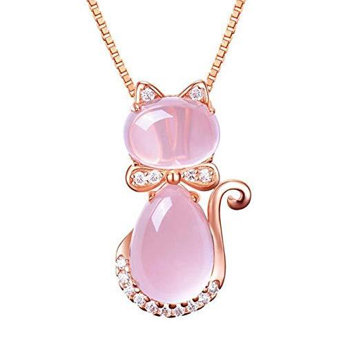 RFGHATG Koreaanse versie van Rose vergulde ketting, natuurlijke Hibiscus poeder kristal hanger, kat kleine hanger