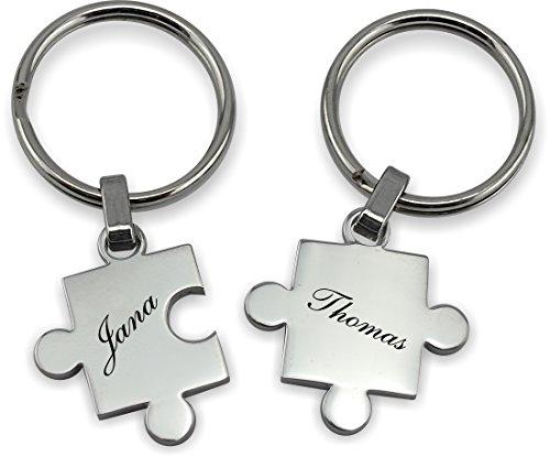 TH-Design Wunderschöner Partner Puzzle Schlüsselanhänger Silber oder Schwarz inkl. Gravur Wunschname (Silber)