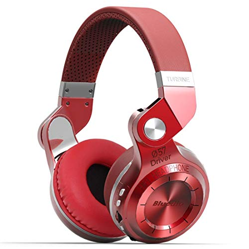 Bluedio T2 Plus Turbine Bluetooth Headphones, Over Ear Headset with Mic SD Card Slot FM Radio, 40 Hours Play Time and Soft Protein Earpads, Wired Headsets for Sports Work Travel (Red)