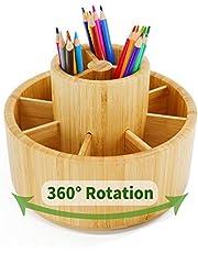 Utoplike Bamboe Roterende Potlood Houder, Office Desk Art Supplies Organisers, Houten Desktop Pen Opbergdoos, Gekleurde Potlood Caddy, 360 graden Opslag voor Kunstborstels, Sticky Notes, Verf