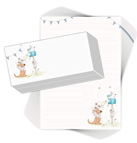 """Juego de papel de carta para niños """"POST für Dich"""", 20 hojas DIN A4 con líneas, incluye 20 sobres impresos, para niños y niñas"""