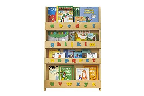 Tidy Books ® La Bibliothèque Originale pour Enfant, avec Alphabet. Livres de Face pour Encourager à la Lecture, en Bois Naturel. H115cm x L77cm x P7cm