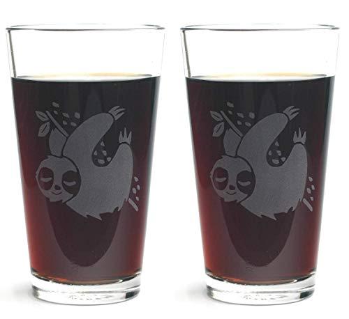 SLOTH Pint Glasses set of 2 - Dishwasher-safe etched glass